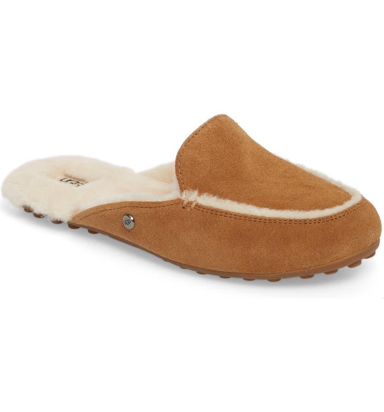 UGG<SUP>®</SUP> Lane Genuine Shearling Slipper, Main, color, CHESTNUT SUEDE