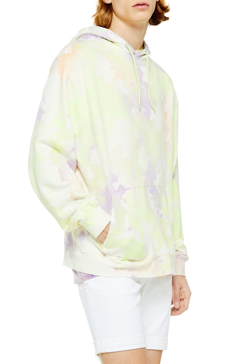 TOPMAN Holi Tie Dye Hooded Sweatshirt, Main, color, YELLOW MULTI