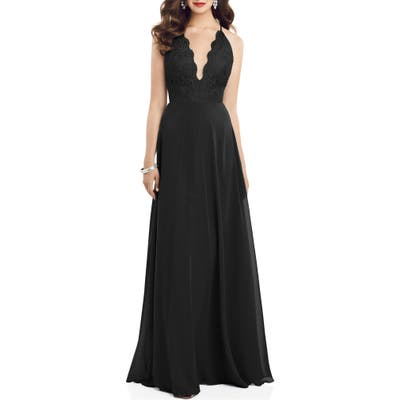 Dessy Collection Plunge Neck Lace & Chiffon Gown, Black