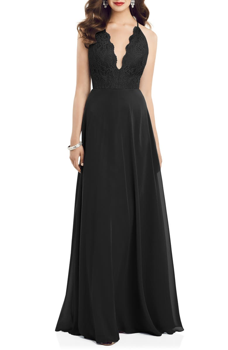 DESSY COLLECTION Plunge Neck Lace & Chiffon Gown, Main, color, BLACK