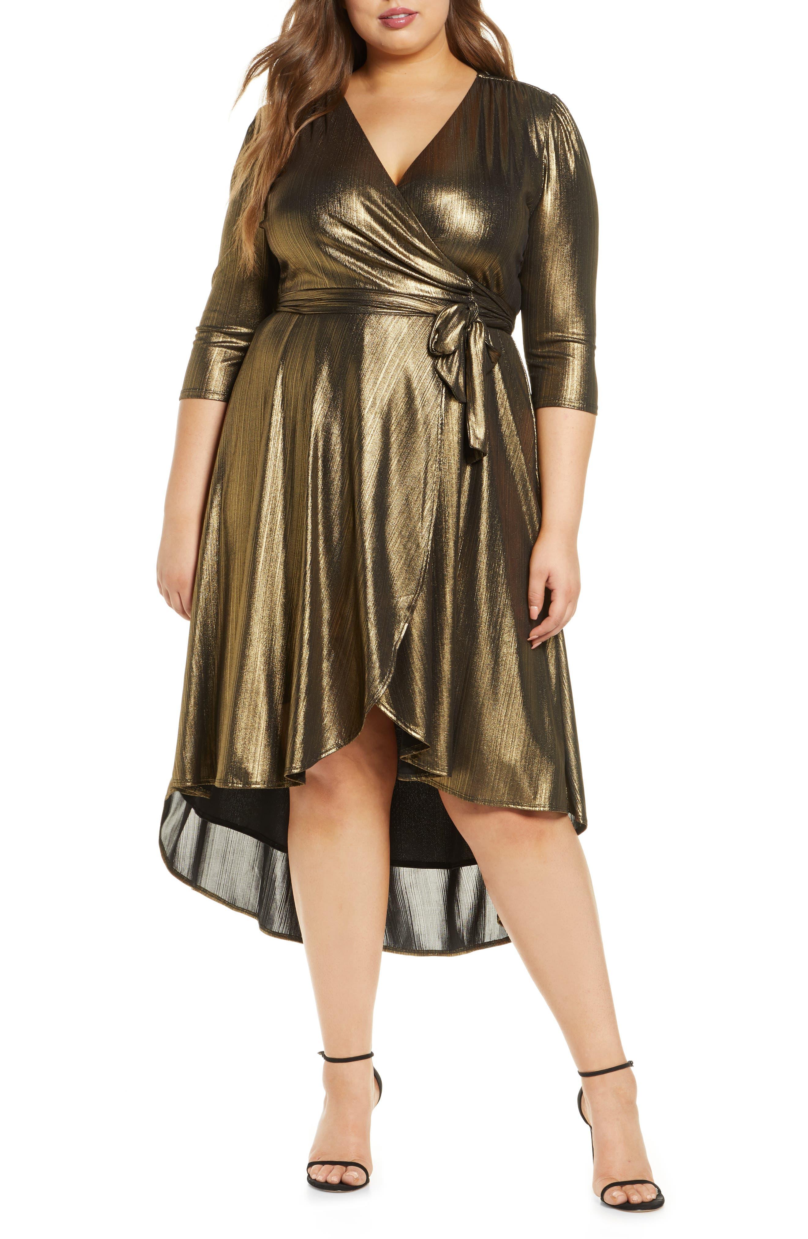 70s Dresses – Disco Dress, Hippie Dress, Wrap Dress Plus Size Womens Kiyonna Monroe Metallic Highlow Wrap Dress $148.00 AT vintagedancer.com