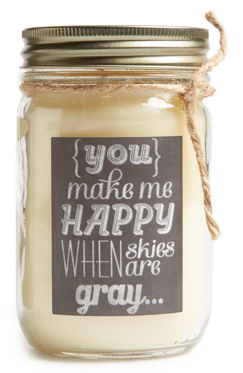 PRIMITIVES BY KATHY 'Sunshine - Sweet Honeysuckle' Mason Jar Scentless Candle, Main, color, 100