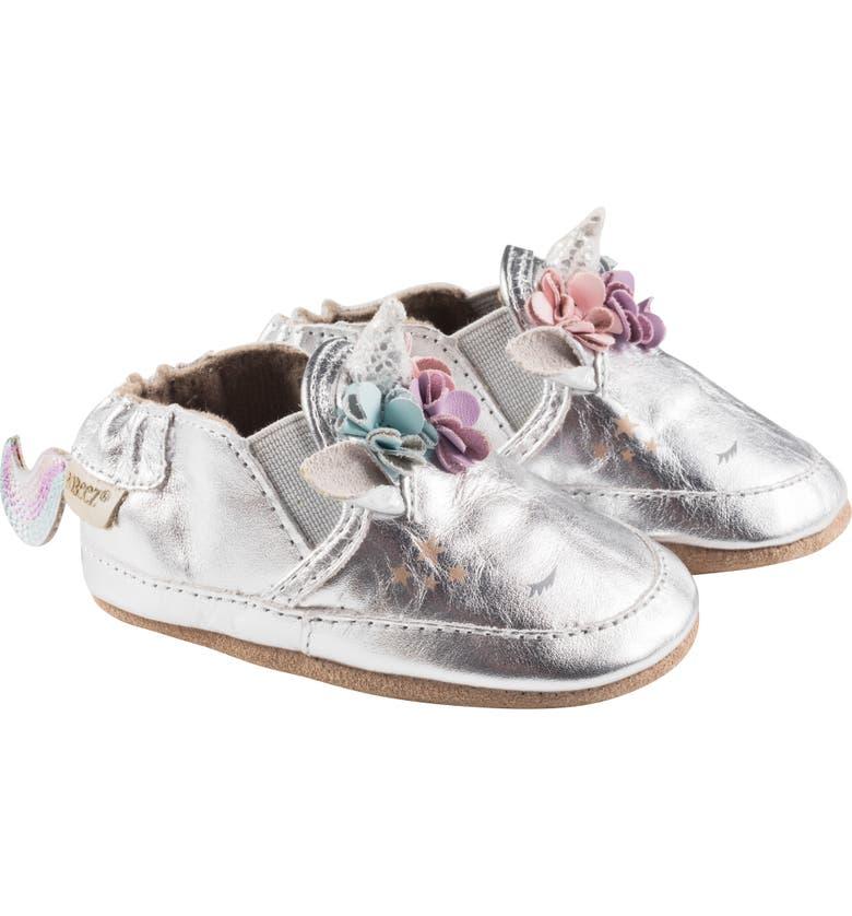 ROBEEZ<SUP>®</SUP> Uma Unicorn Metallic Crib Shoe, Main, color, METALLIC SILVER