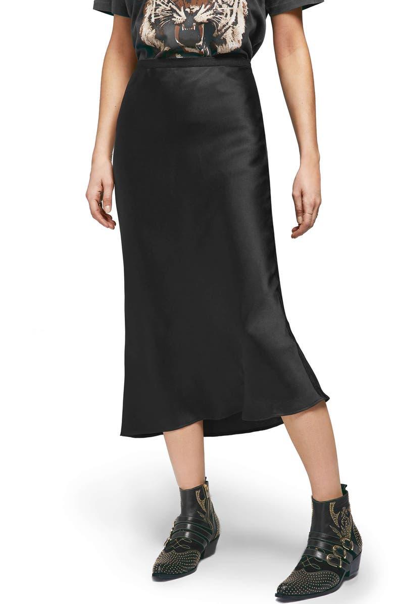 ANINE BING Bar Silk Midi Skirt, Main, color, 001