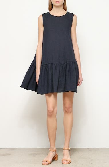 Ruffle Hem Linen Minidress, video thumbnail