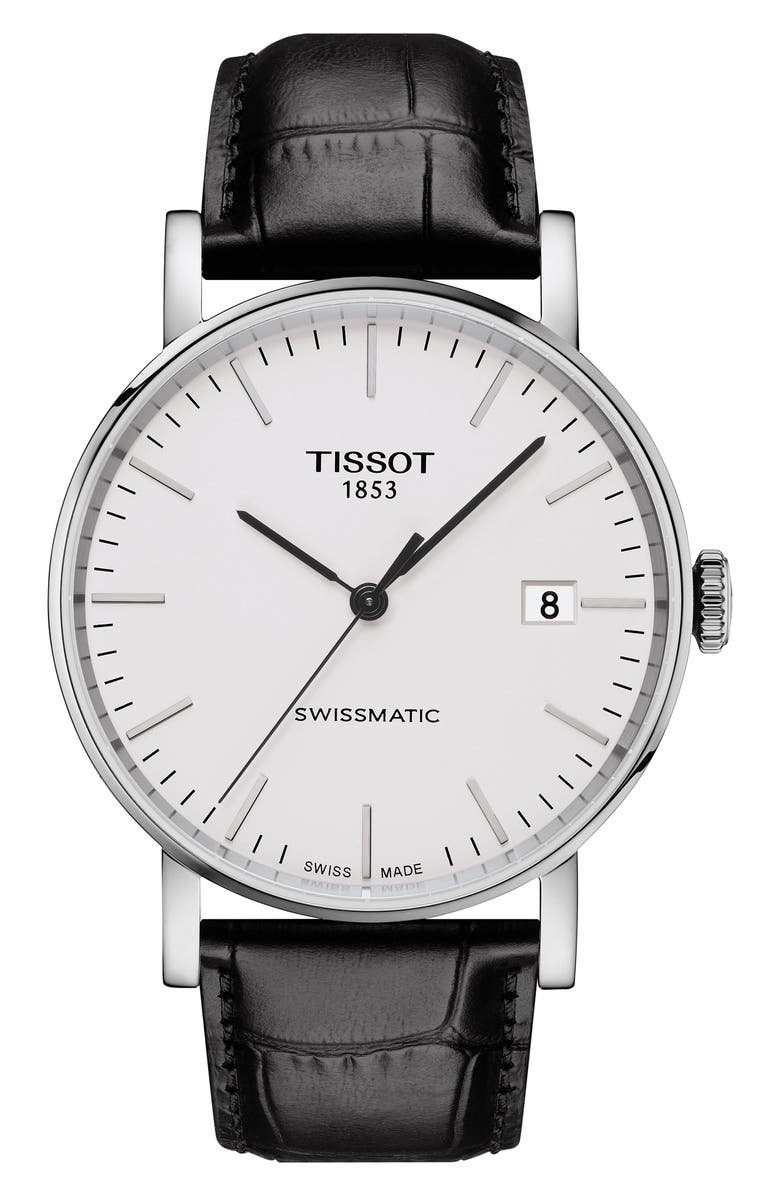 TISSOT Everytime Swissmatic Leather Strap Watch, 40mm, Main, color, BLACK/ SILVER