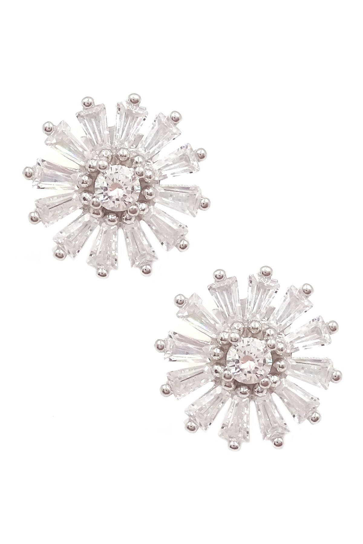 Image of Savvy Cie Sterling Silver Starburst Tapered CZ Baguette Stud Earrings