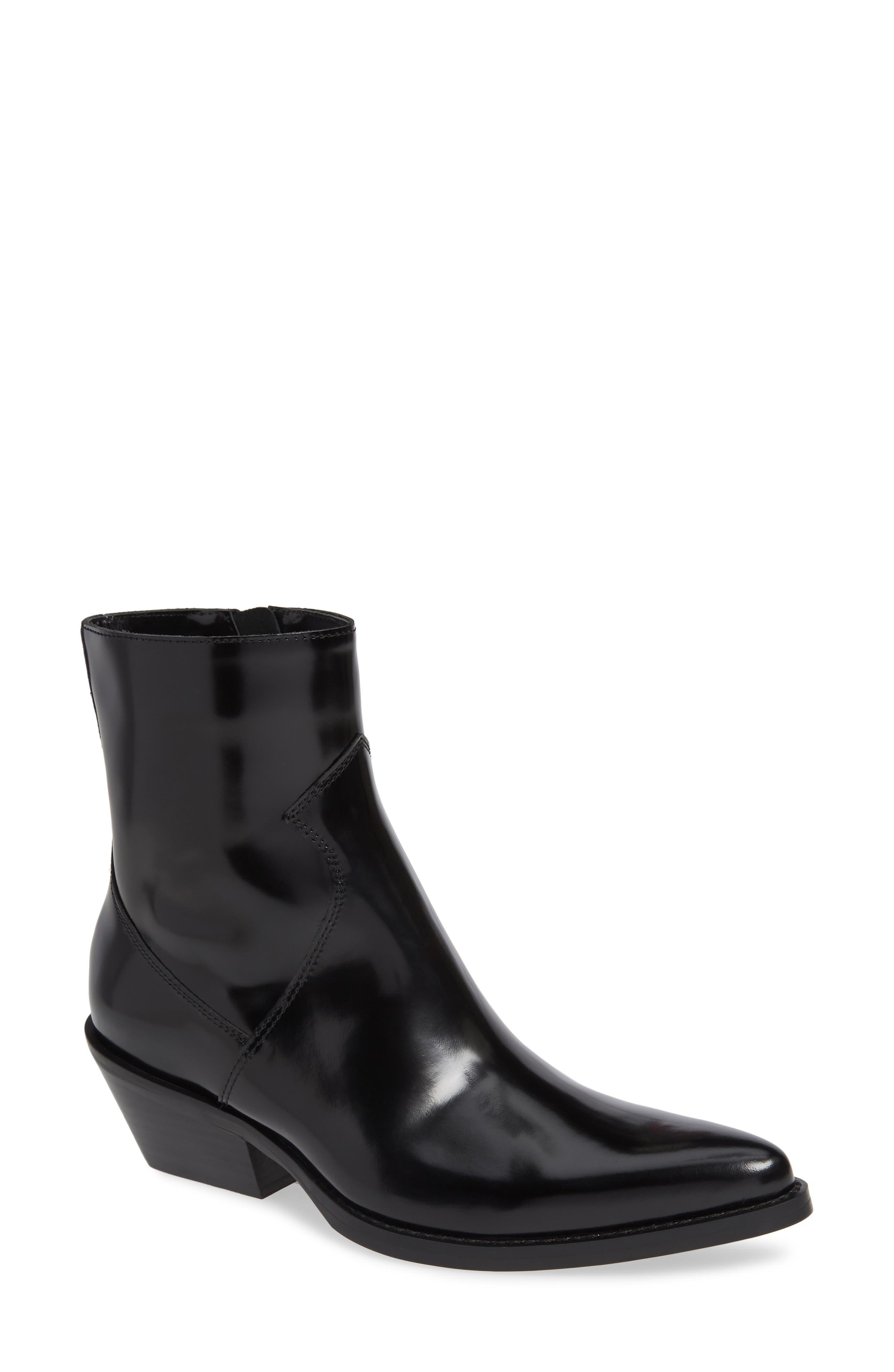 ,                             Calvin Klein Arianna Bootie,                             Main thumbnail 1, color,                             BLACK LEATHER