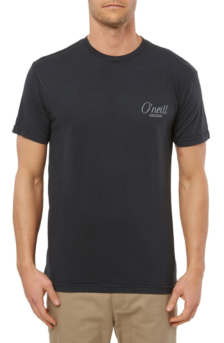 O'NEILL Breaking Out Logo Graphic T-Shirt, Main, color, DARK CHARCOAL
