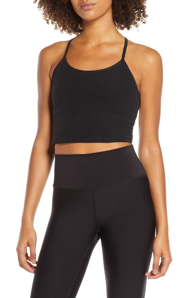 BEYOND YOGA Space Dye Crop Tank, Main, color, DARKEST NIGHT