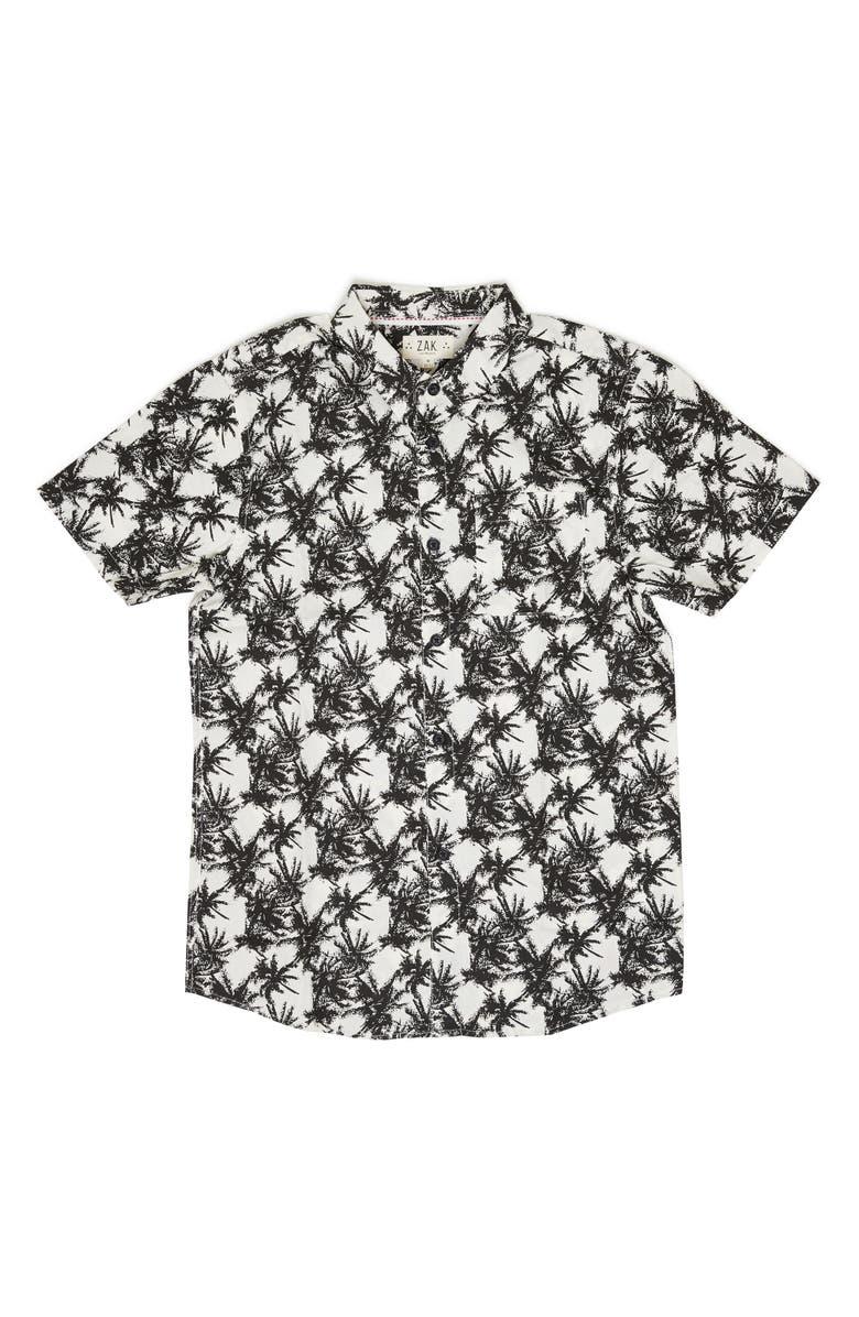 Z.A.K. BRAND Vintage Palm Tree Woven Shirt, Main, color, 100