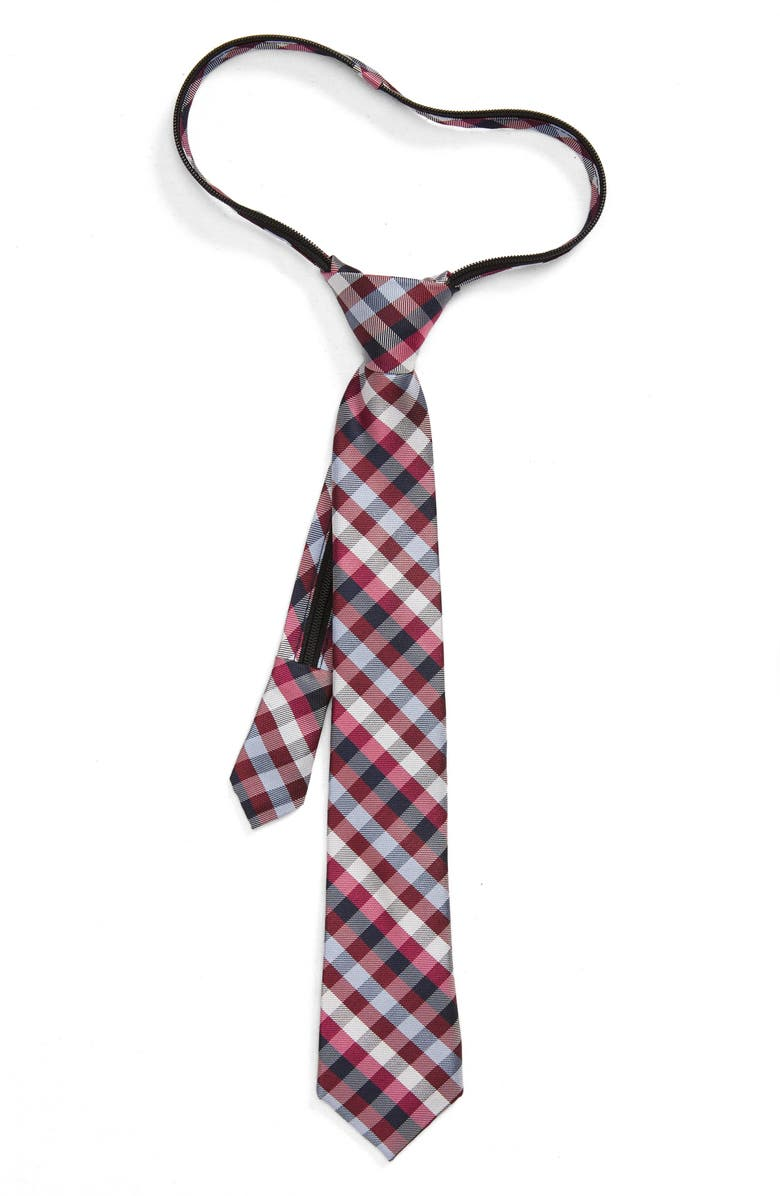 NORDSTROM Allen Plaid Silk Zipper Tie, Main, color, RED