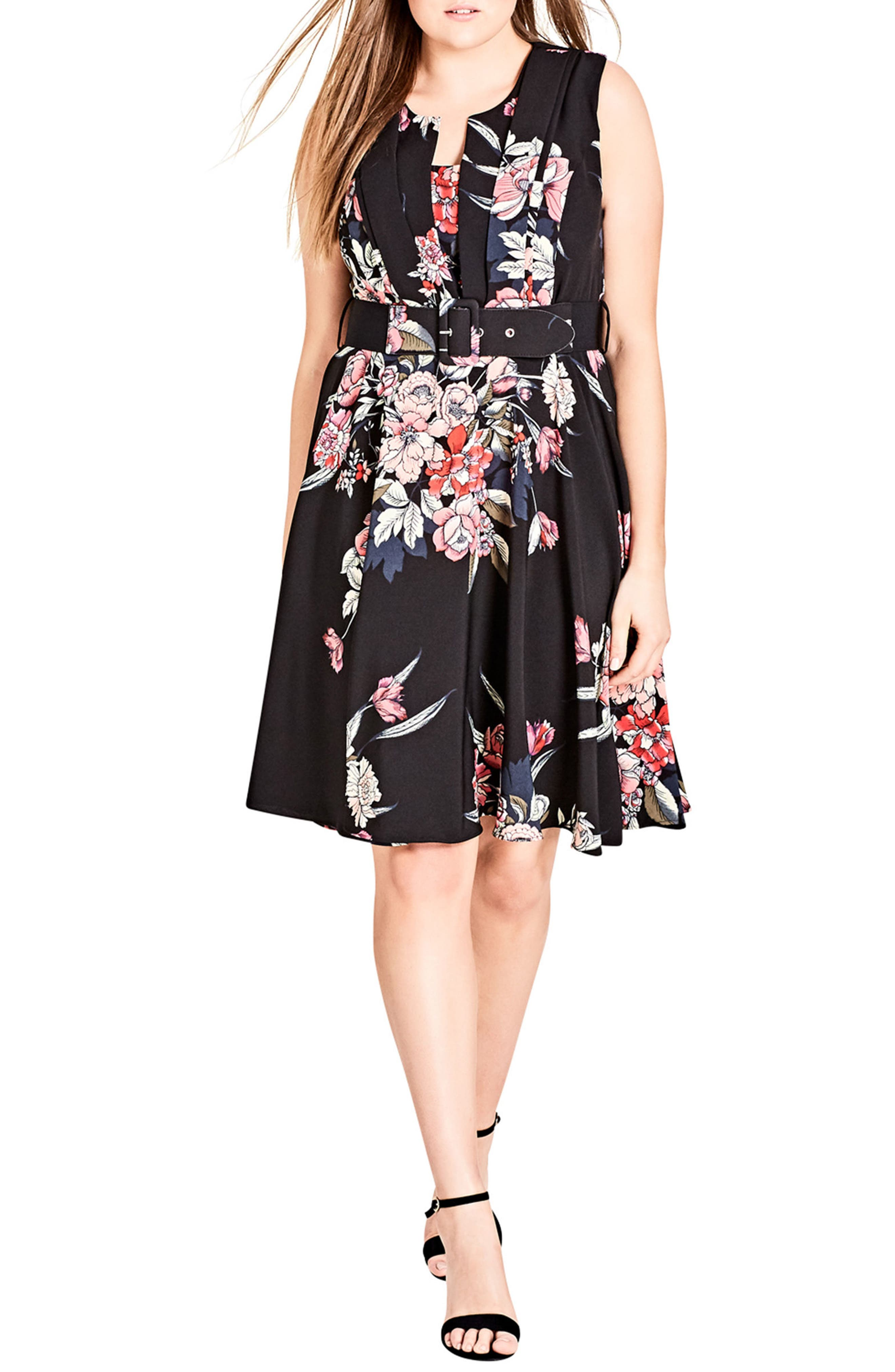 Plus Size City Chic Misty Floral Fit & Flare Dress, Black