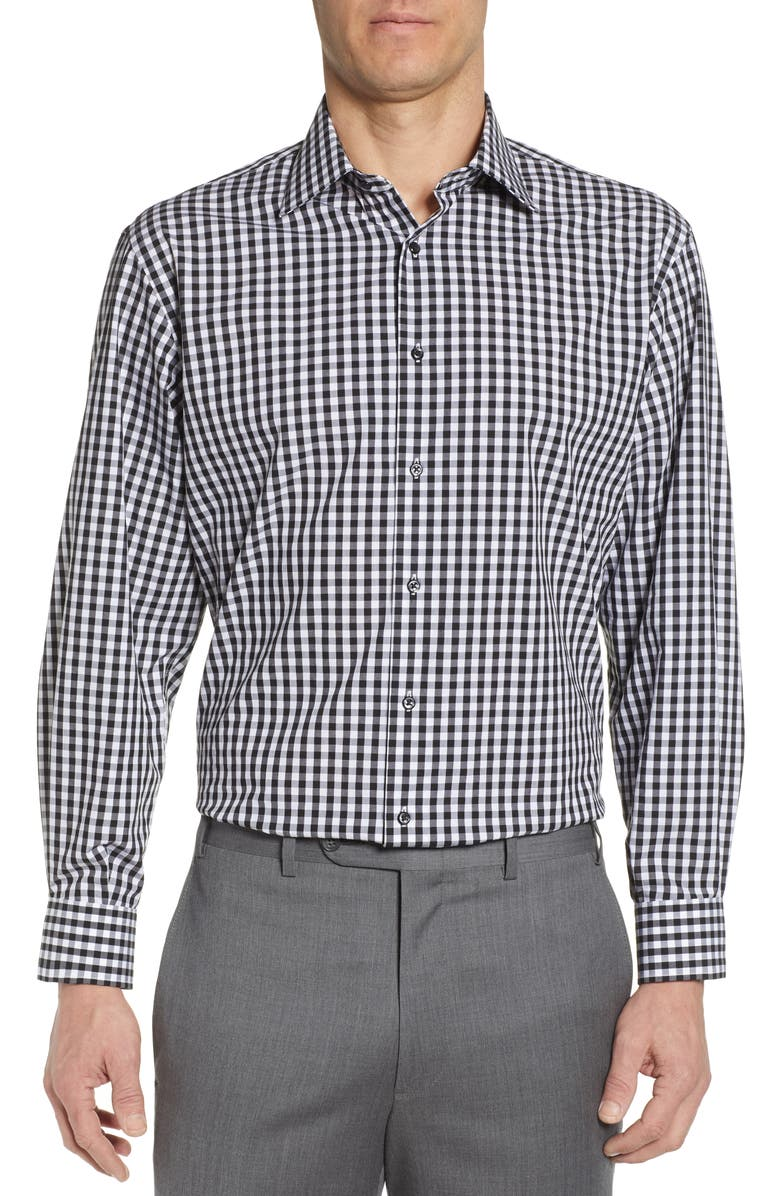 NORDSTROM MEN'S SHOP Tech-Smart Classic Fit Stretch Check Dress Shirt, Main, color, 001