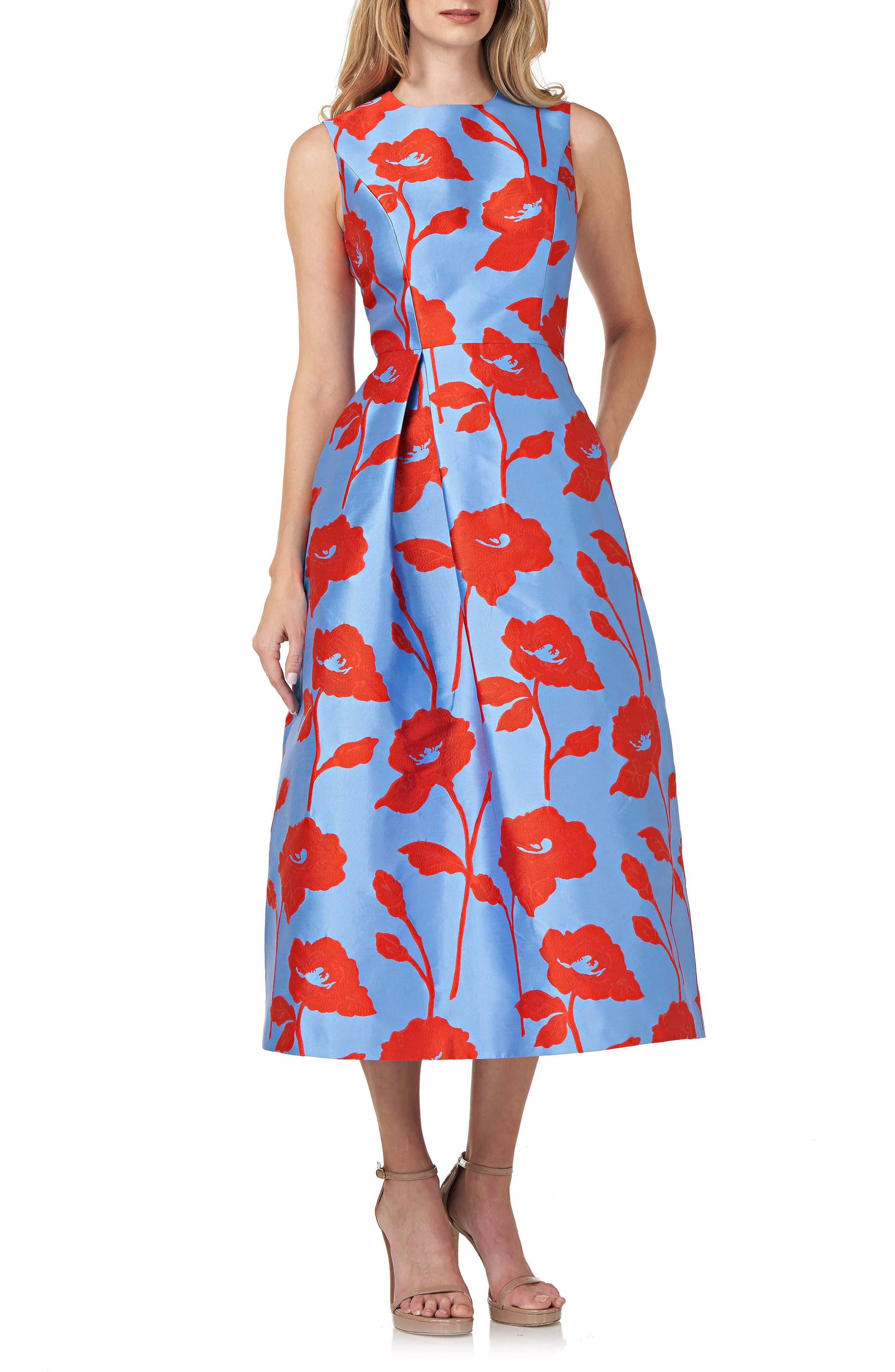 Floral Satin Jacquard Cocktail Dress