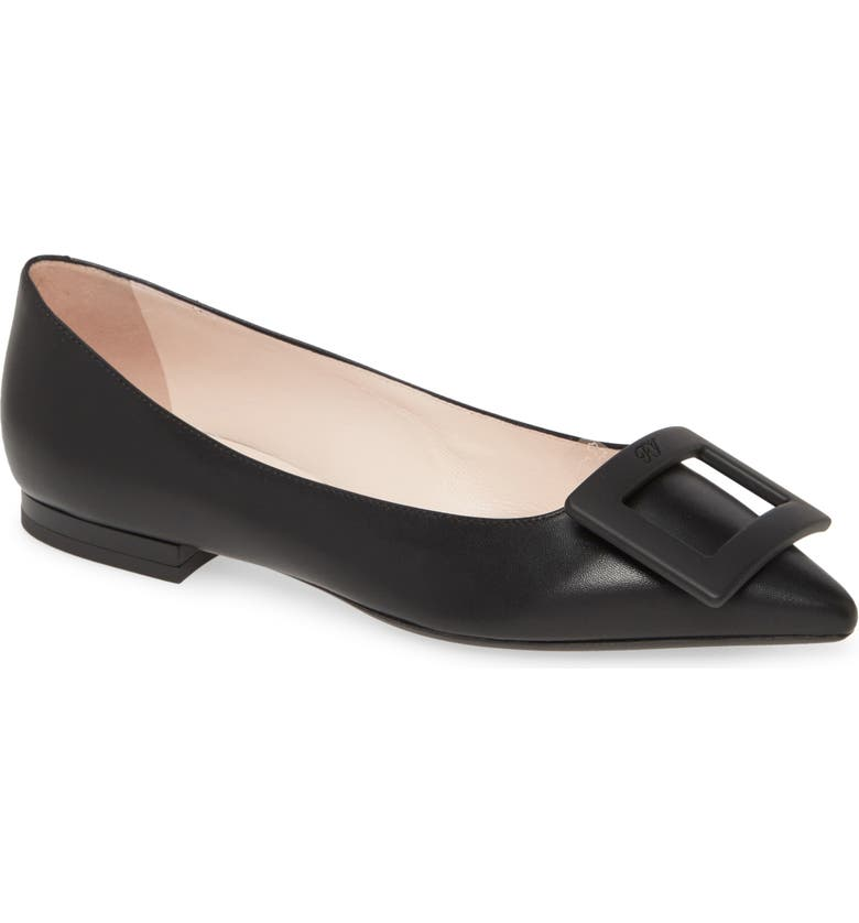 ROGER VIVIER Gommettine Buckle Pointed Toe Flat, Main, color, BLACK