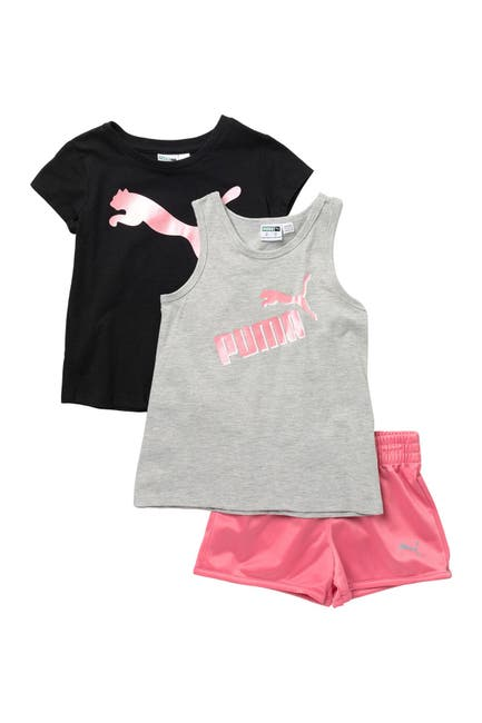 Image of PUMA Short Sleeve Tee, Tank & Shorts 3-Piece Set