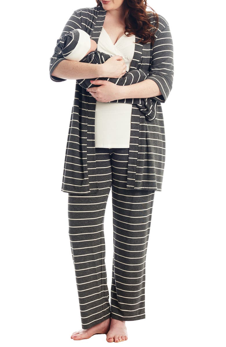 EVERLY GREY Analise During & After 5-Piece Maternity/Nursing Sleep Set, Main, color, CHARCOAL STRIPE