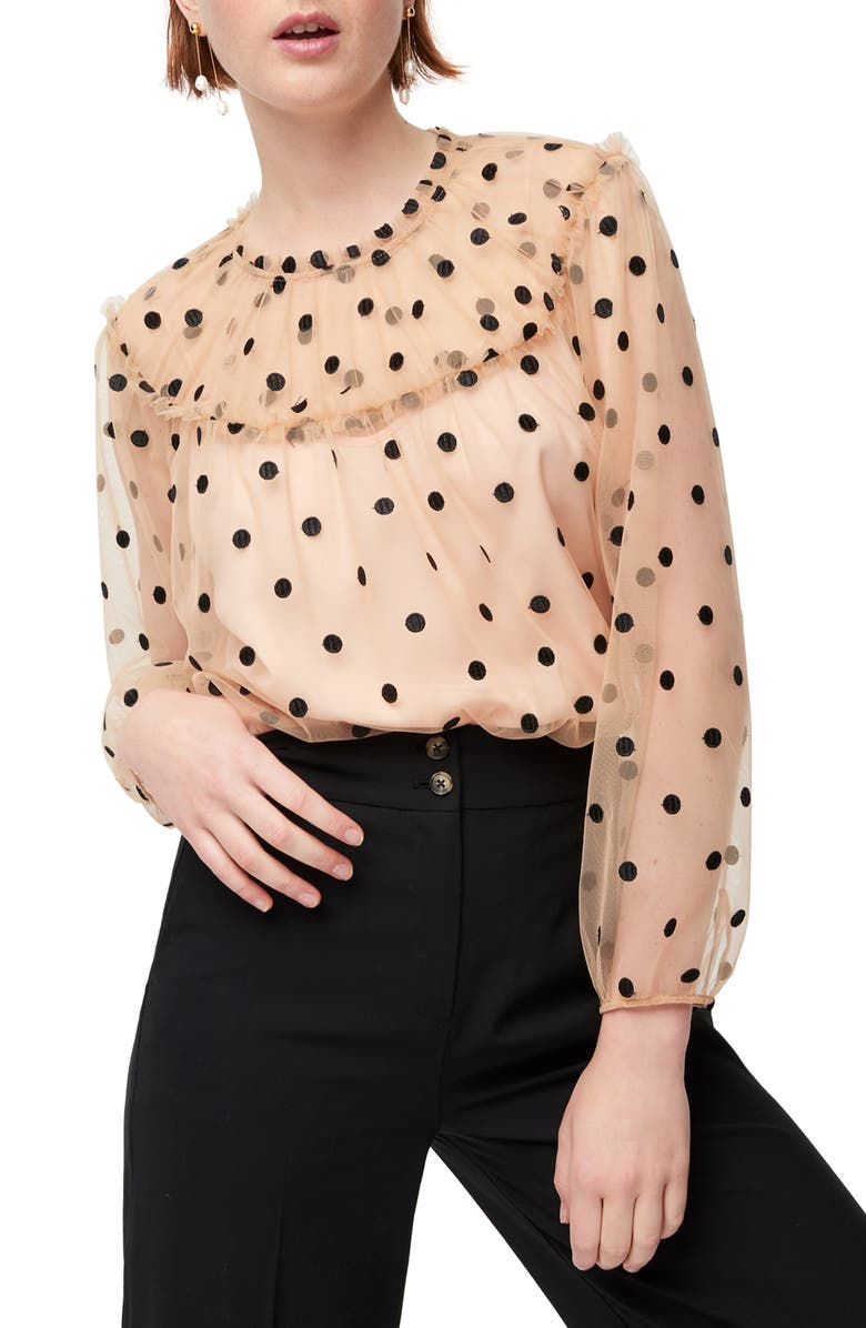 J.CREW Diana Candy Dot Tulle Top, Main, color, NUDE BLACK