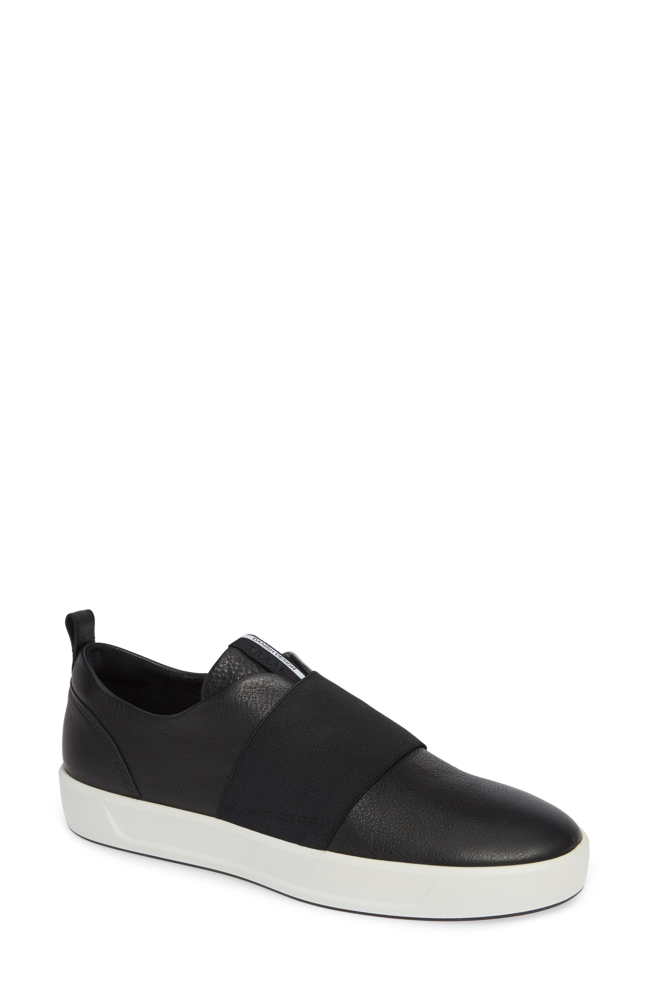 Soft 8 Band Low Sneaker, Main, color, BLACK LEATHER
