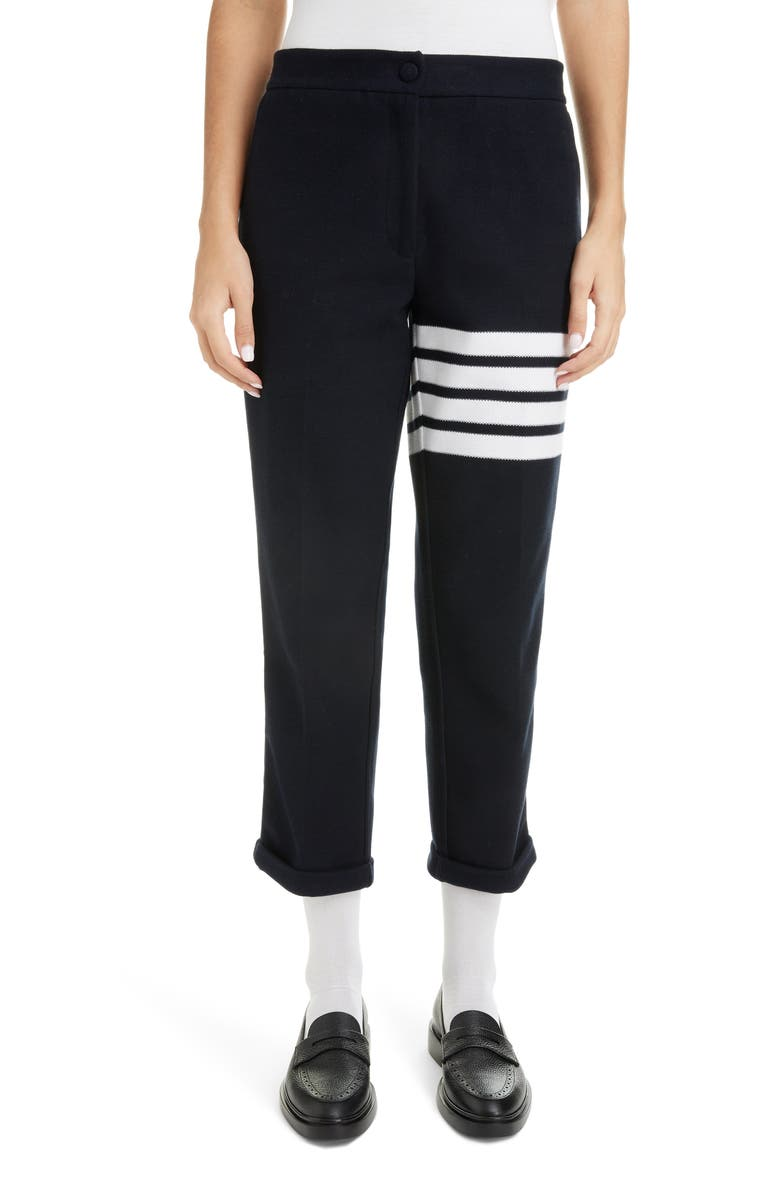 THOM BROWNE 4-Bar Double Knit Trousers, Main, color, NAVY
