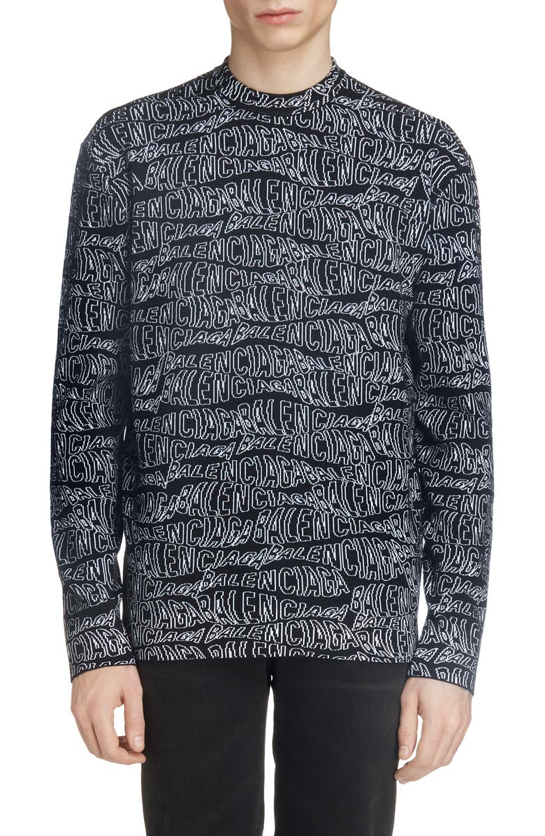 BALENCIAGA Jacquard Wool Blend Sweater, Main, color, BLACK