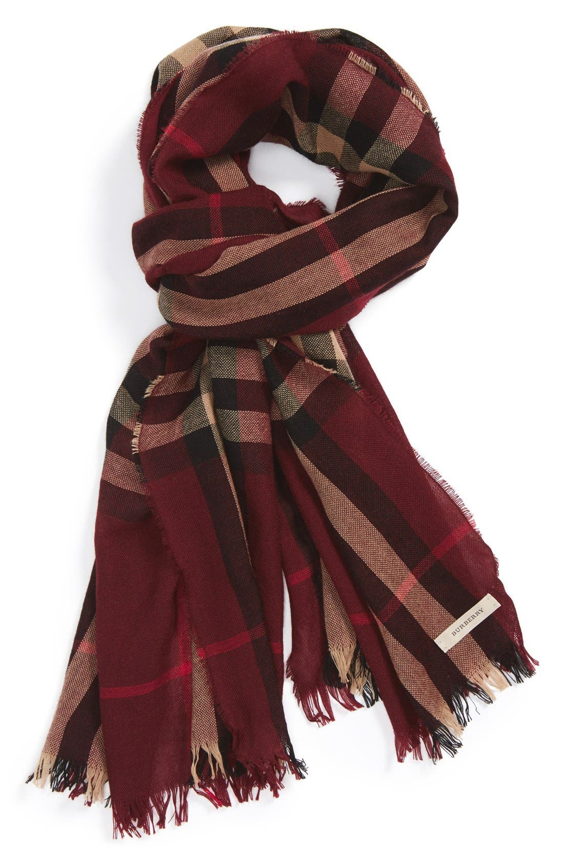 ,                             Check Merino Wool & Cashmere Scarf,                             Main thumbnail 3, color,                             602