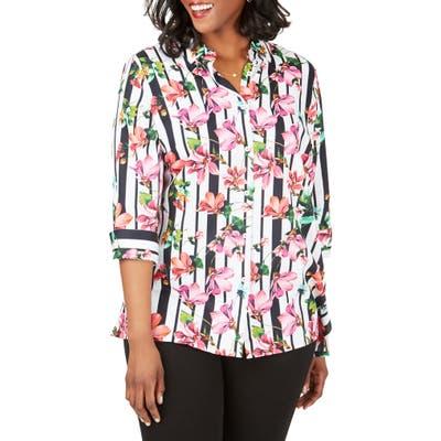 Plus Size Foxcroft Suzette Hibiscus Stripe Wrinkle Free Shirt, White