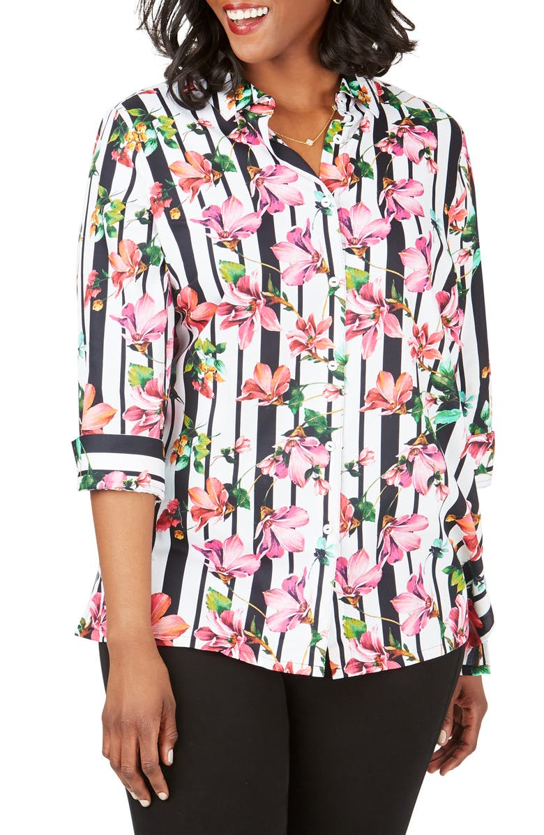 FOXCROFT Suzette Hibiscus Stripe Wrinkle Free Shirt, Main, color, MULTI