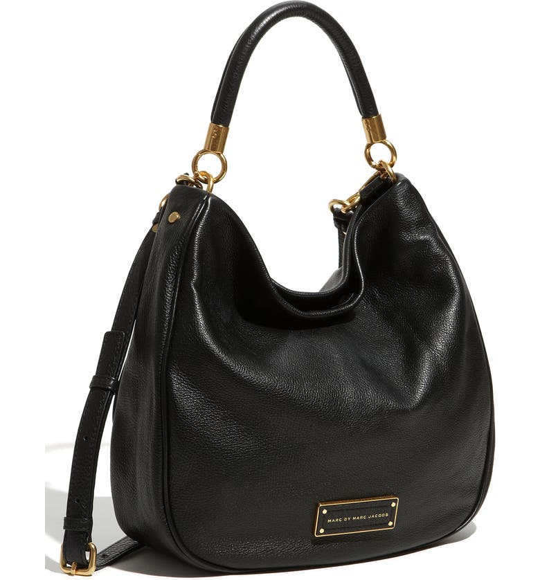 MARC JACOBS MARC BY MARC JACOBS 'Too Hot to Handle' Leather Hobo, Main, color, 001