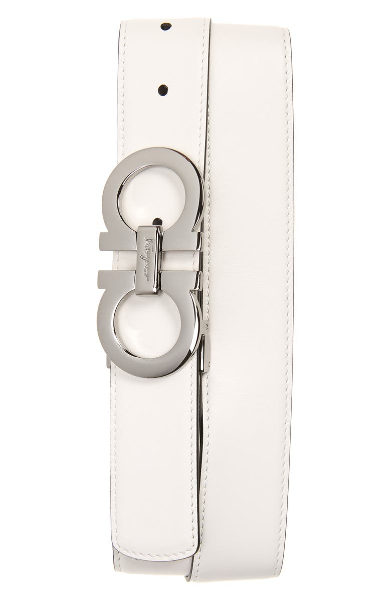 SALVATORE FERRAGAMO Calfino Reversible Leather Belt, Main, color, WHITE/ASPHALT GREY