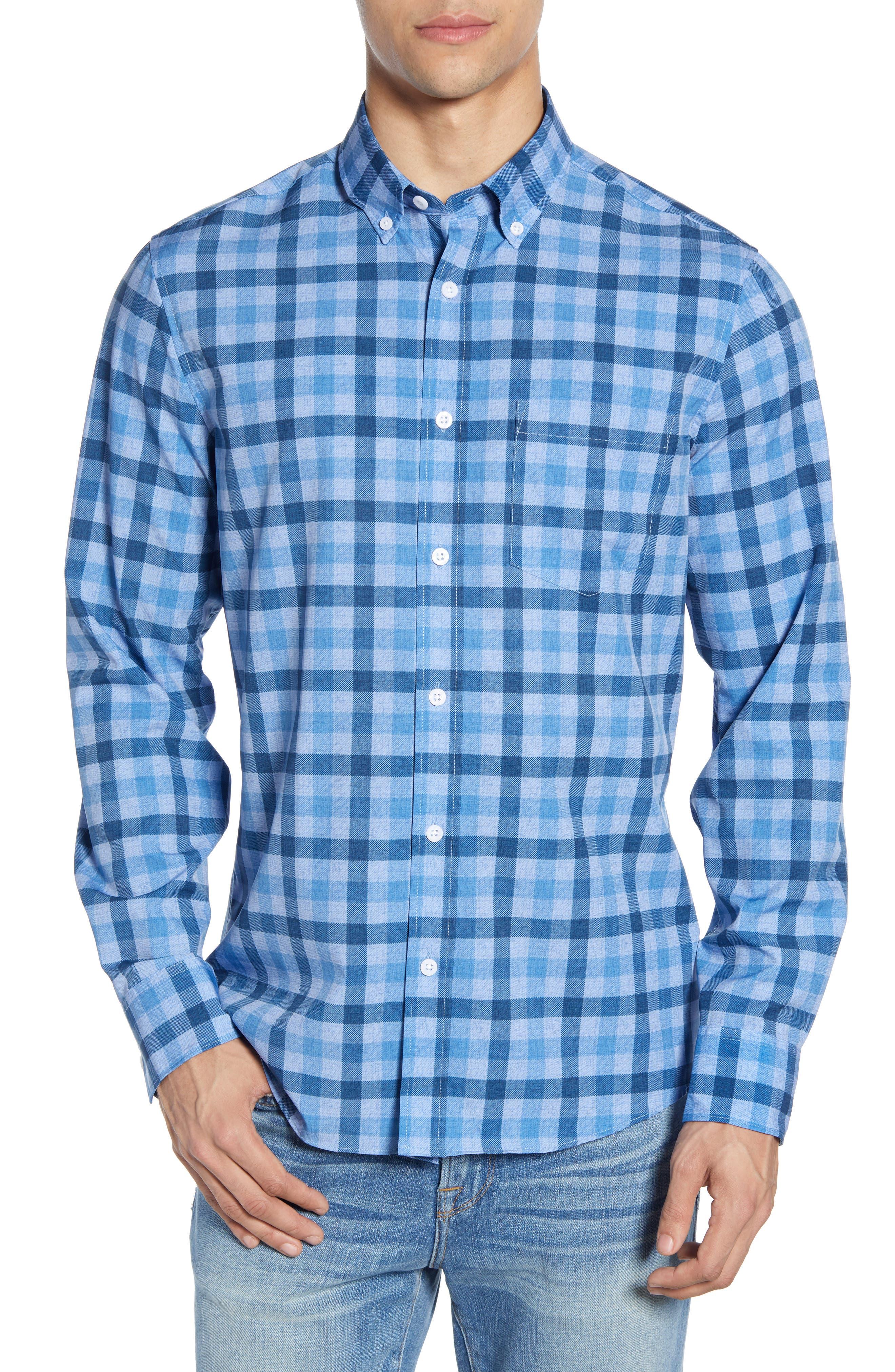 Nordstrom Shop Regular Fit Check Performance Sport Shirt, Blue