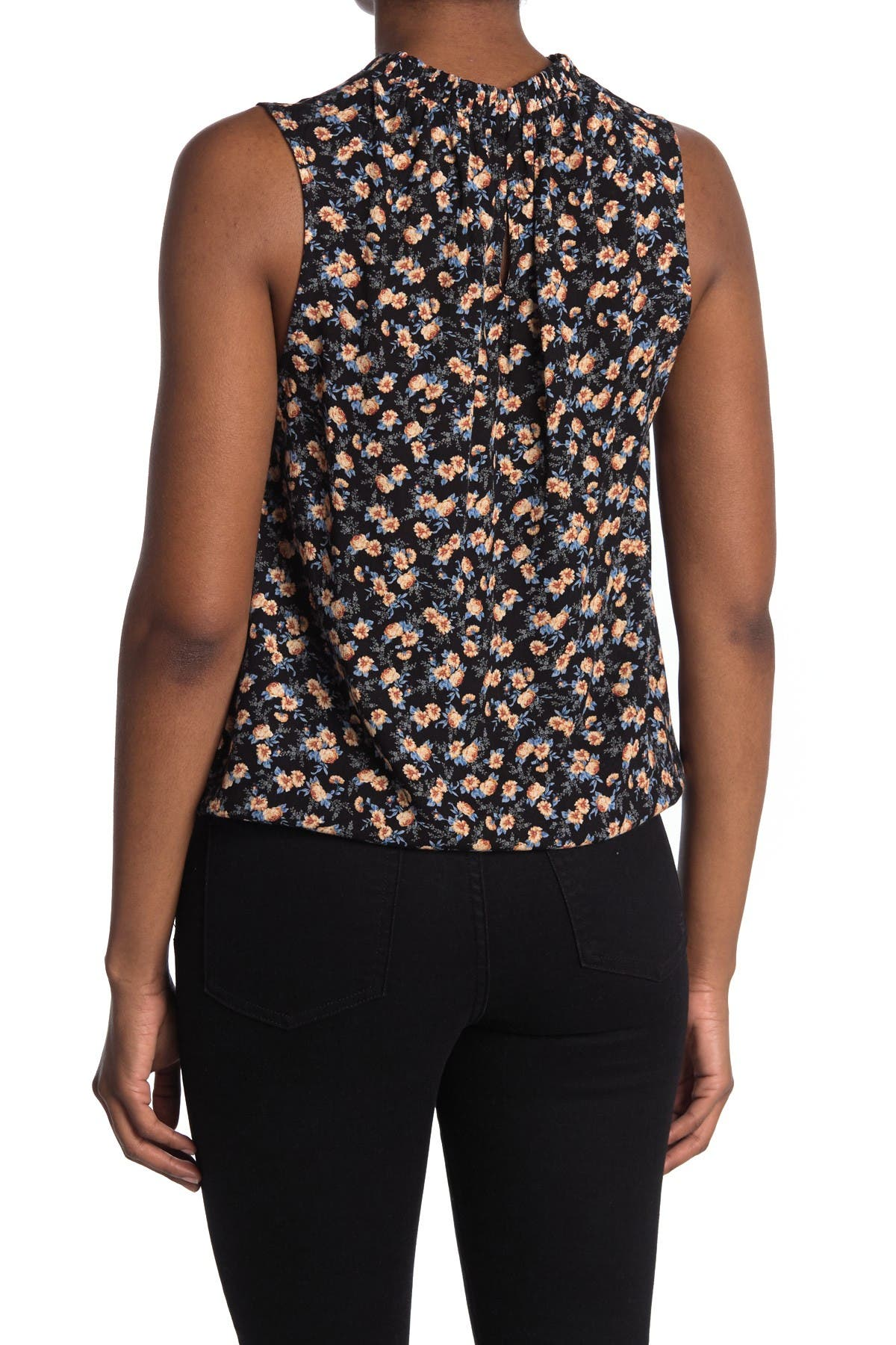 Image of Gibsonlook Patterned Ruffle Trim Drawcord Tank Top
