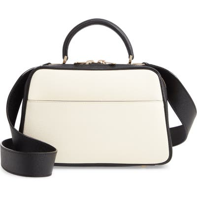 Valextra Medium Serie S Leather Top Handle Bag - White