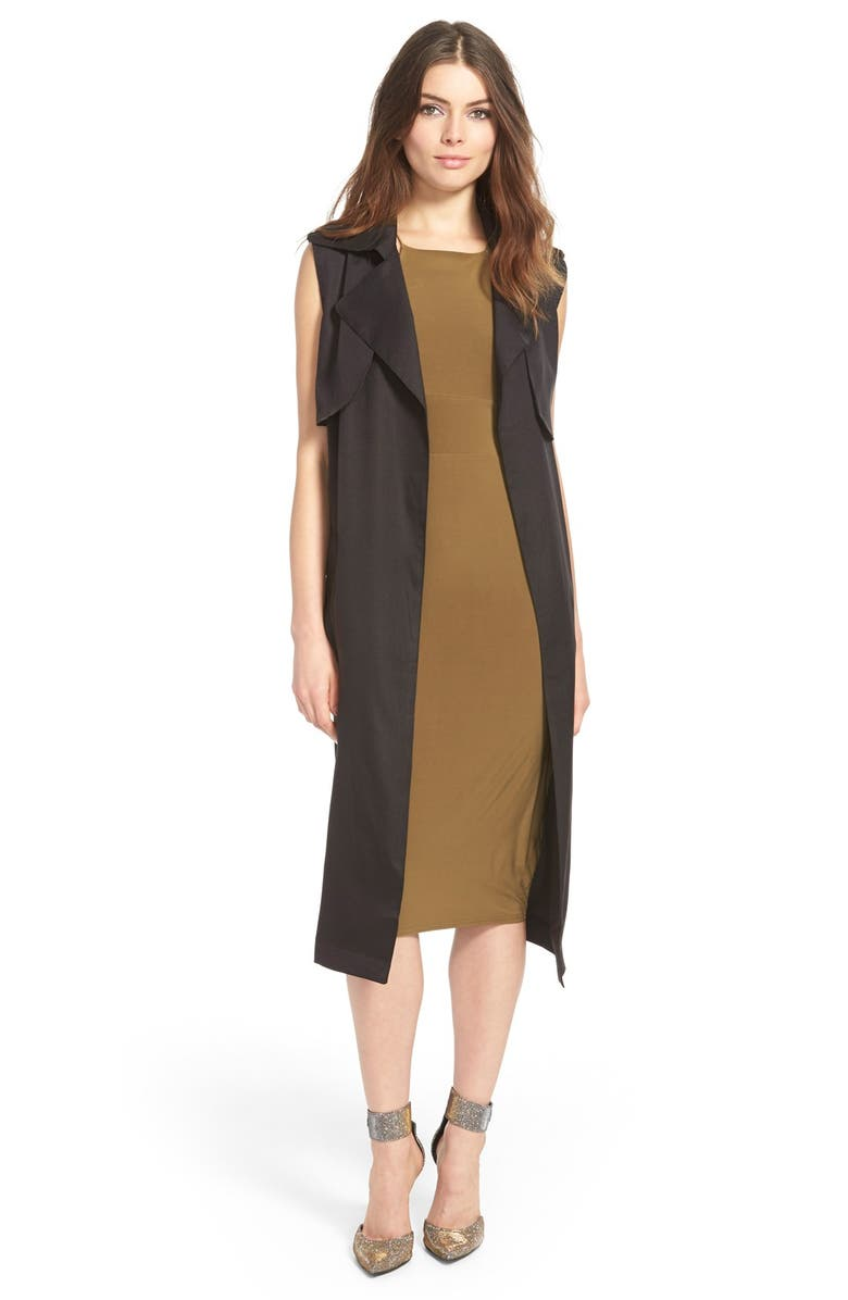 MISSGUIDED Sleeveless Trench Coat, Main, color, 001