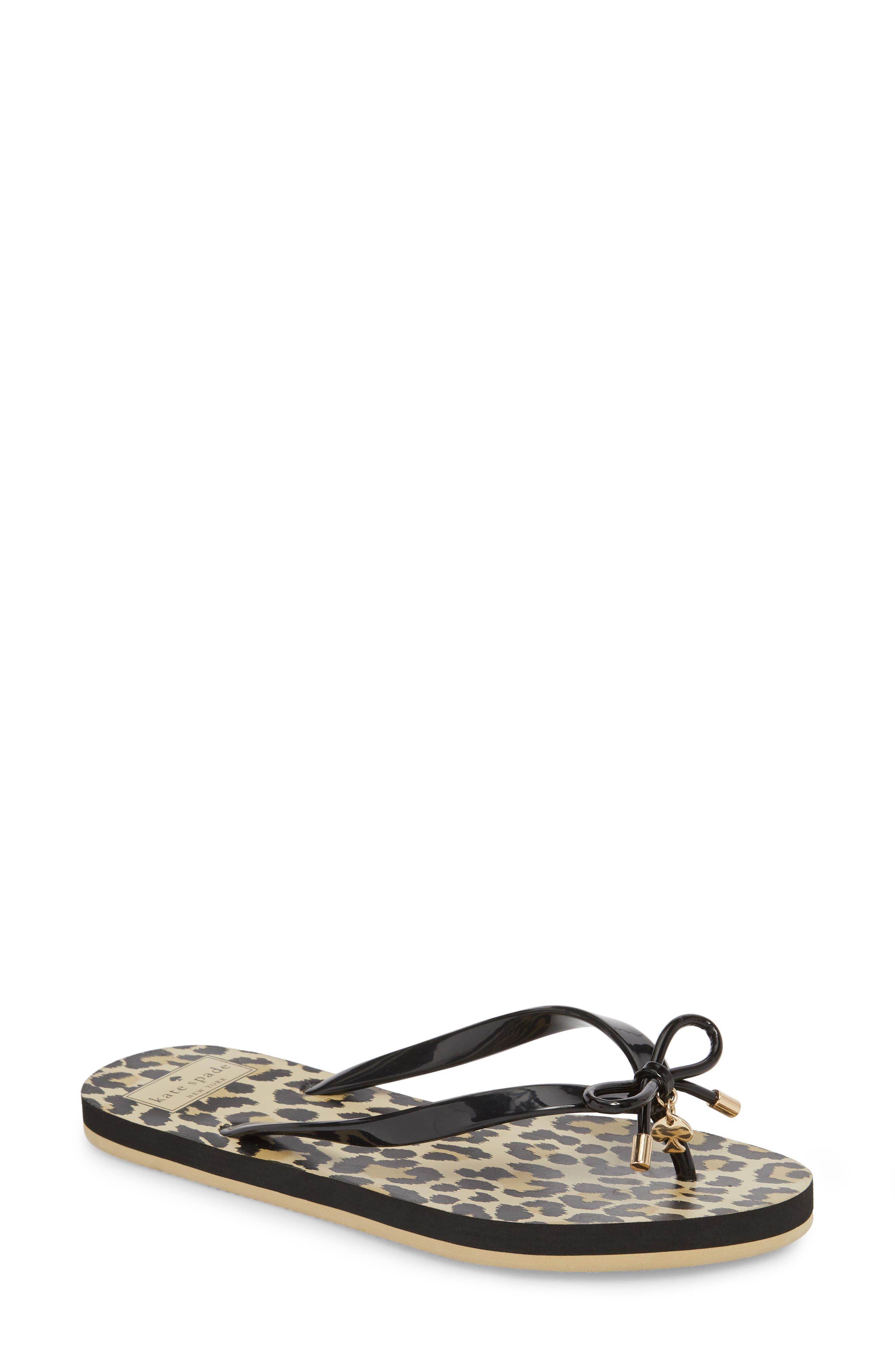 'nova' flip flop, Main, color, BLACK LEOPARD PRINT