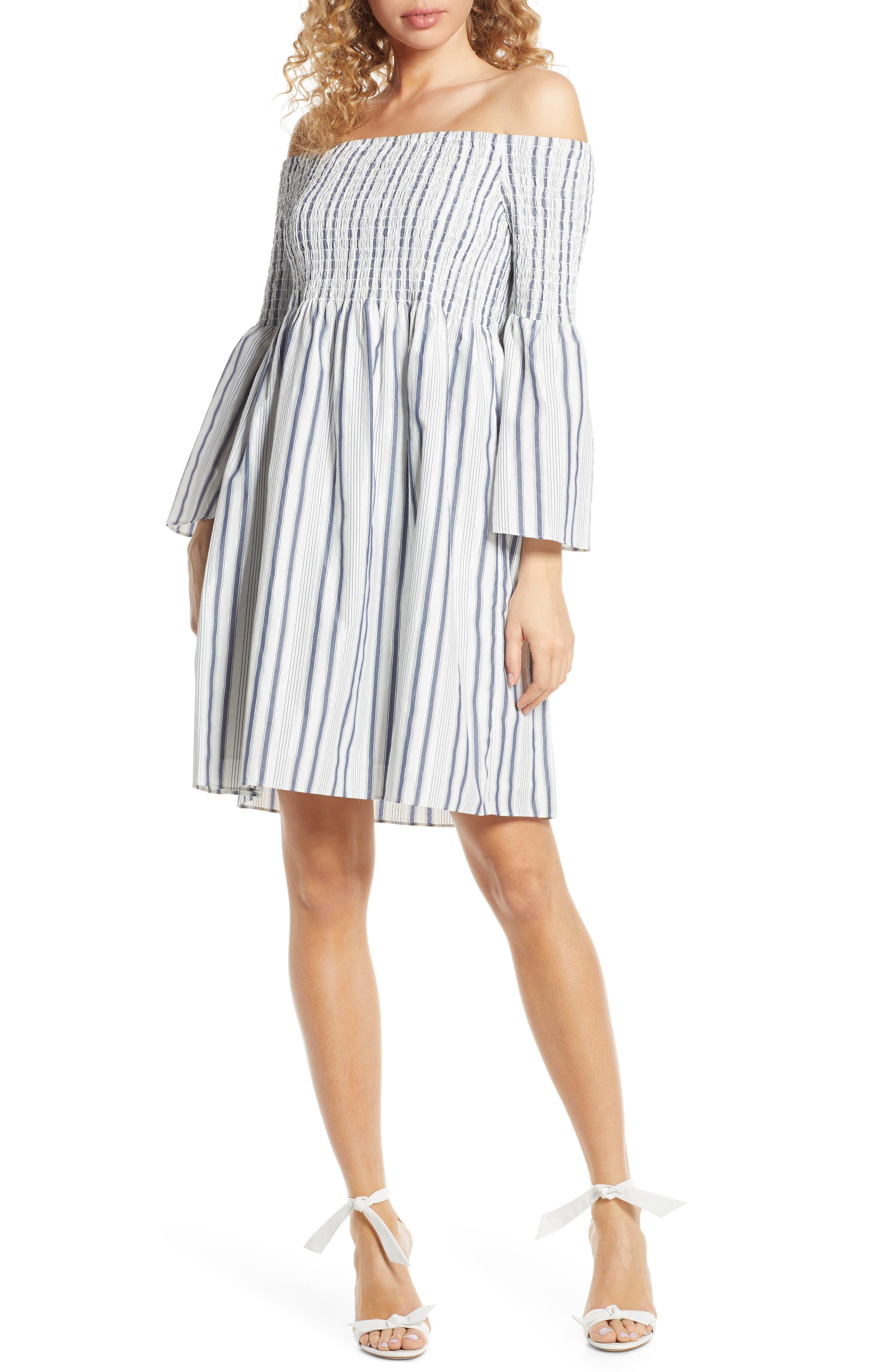 Sam Edelman Metallic Ticking Stripe Smocked Off The Shoulder Dress, Blue