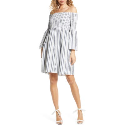 Sam Edelman Metallic Ticking Stripe Smocked Off The Shoulder Dress, Blue