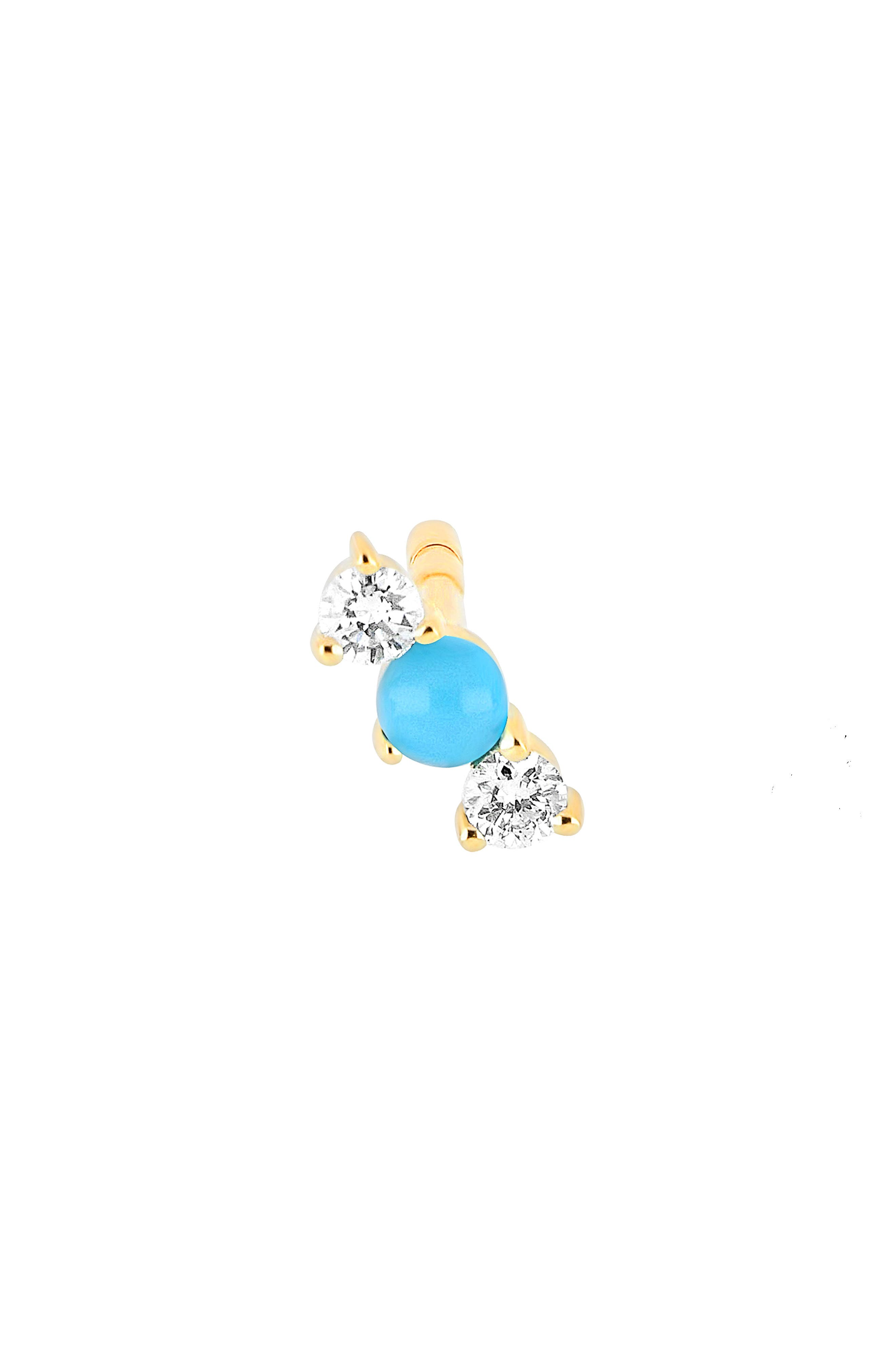 Single Diamond & Turquoise Bar Stud Earring