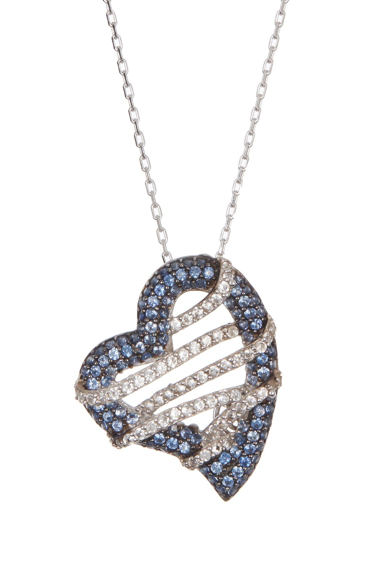 Image of Suzy Levian Sterling Silver Sapphire Heart Pendant Diamond Accent Necklace - 0.02 ctw