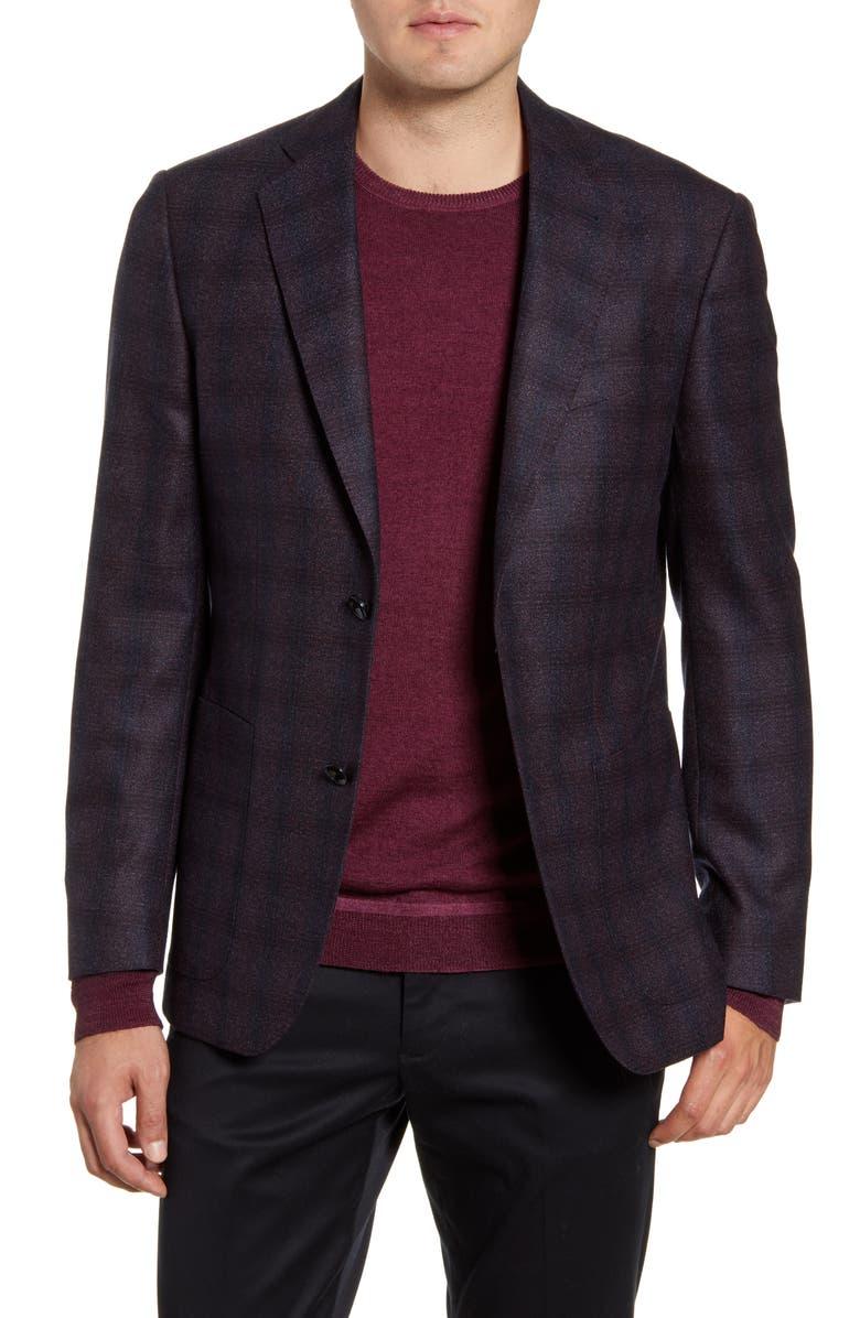 NORDSTROM SIGNATURE Trim Fit Plaid Wool Sport Coat, Main, color, BURGUNDY ROYALE NAVY NEP