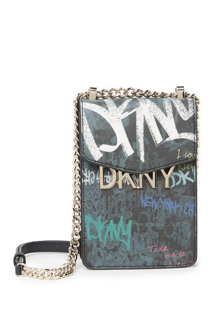 Image of DKNY Penelope Printed Leather Phone Crossbody Bag