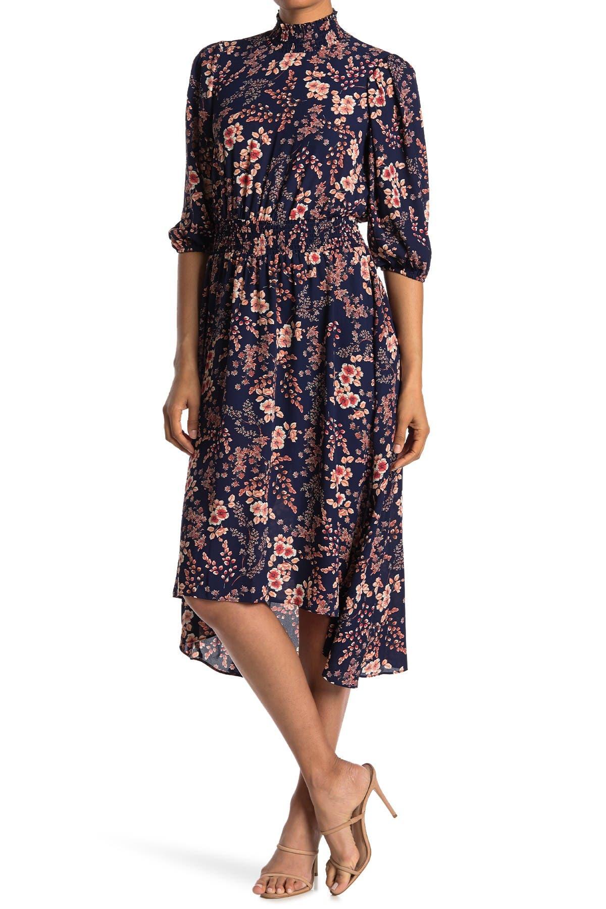Image of NANETTE nanette lepore Smock Neck Long Sleeve Floral Print Waist Dress