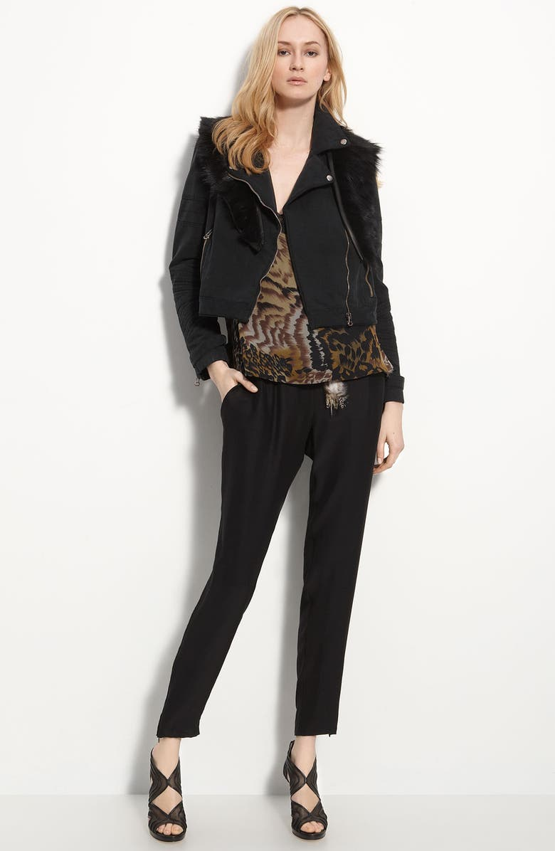 ELIZABETH AND JAMES 'Rory' Lamb's Fur Trim Twill Biker Jacket, Main, color, 001