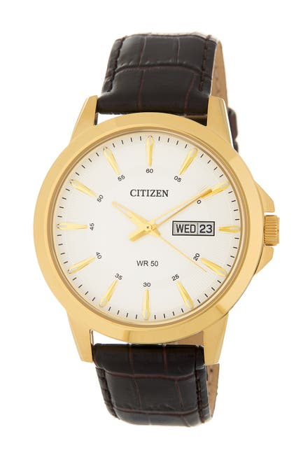 Image of Citizen Men's Leather Strap Watch, 41mm