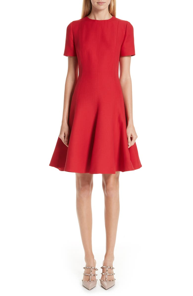 VALENTINO Crepe A-Line Dress, Main, color, RED