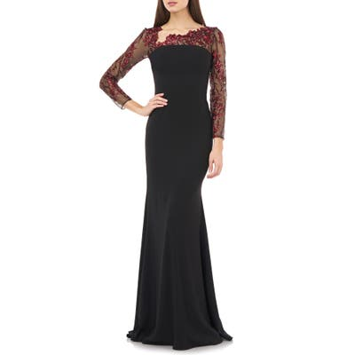 Carmen Marc Valvo Infusion Embroidered Long Sleeve Crepe Gown, Black