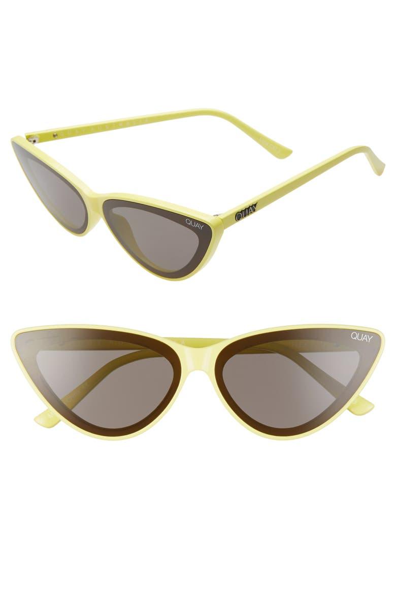 QUAY AUSTRALIA x Lizzo Flex 47mm Cat Eye Sunglasses, Main, color, YELLOW/ SMOKE