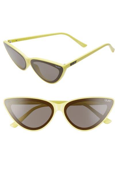 Quay X Lizzo Flex 47mm Cat Eye Sunglasses In Yellow/ Smoke