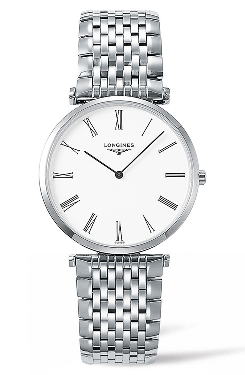 LONGINES La Grande Classique de Longines Bracelet Watch, 34mm, Main, color, SILVER/ WHITE/ SILVER